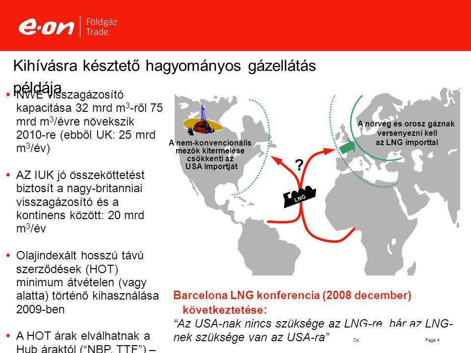Page 4Oslo 14 May 2009 Dr. Weise Kihívásra késztető hagyományos gázellátás példája  NWE visszagázosító kapacitása 32 mrd m 3 -ről 75 mrd m 3 /évre nö