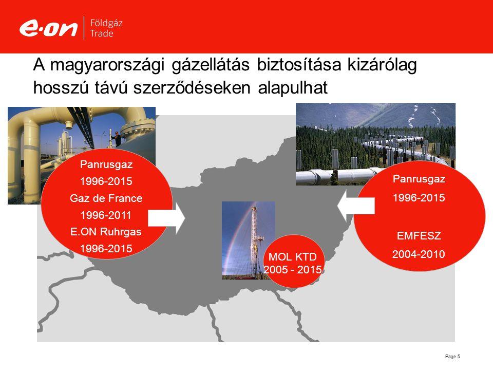 Page 5 A magyarországi gázellátás biztosítása kizárólag hosszú távú szerződéseken alapulhat MOL KTD 2005 - 2015 Panrusgaz 1996-2015 EMFESZ 2004-2010 P