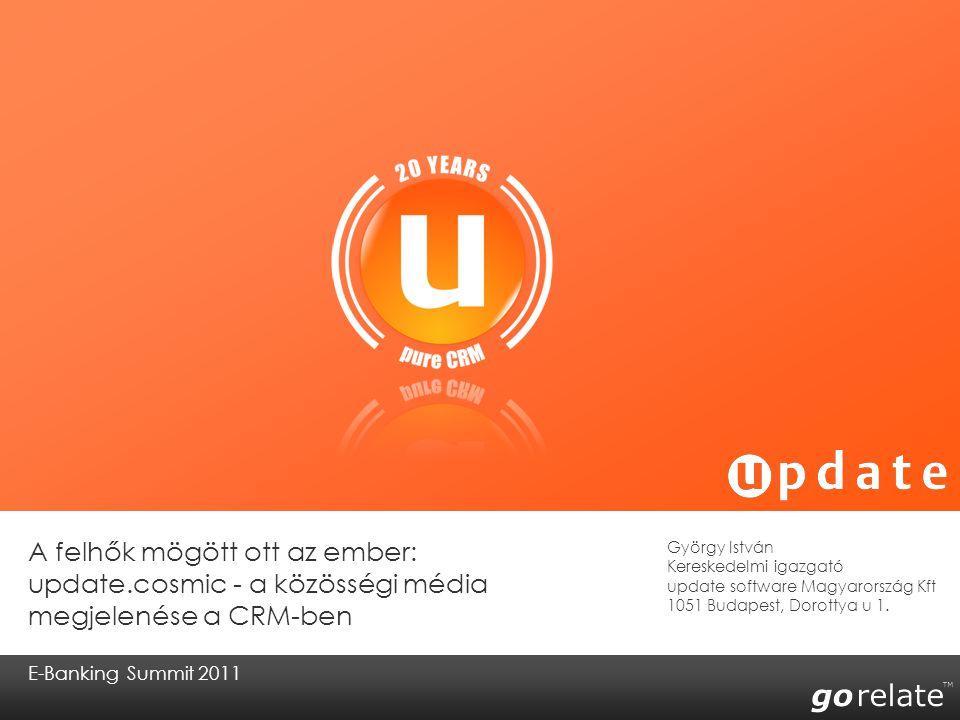 copyright © 2008 | update software AG | 23.07.2014 12 A közösségi CRM koncepciója Meghatározott kulcsszavakat kereshetünk a kiválasztott közösségi médiákon keresztül (pl.