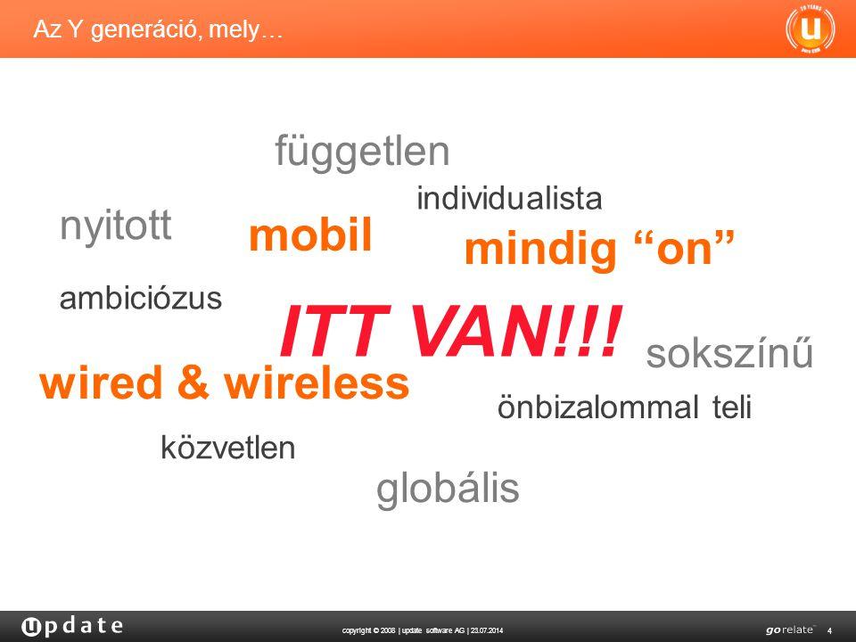 copyright © 2008 | update software AG | 23.07.2014 4 individualista Az Y generáció, mely… önbizalommal teli ambiciózus nyitott közvetlen wired & wireless mobil mindig on független sokszínű globális ITT VAN!!!