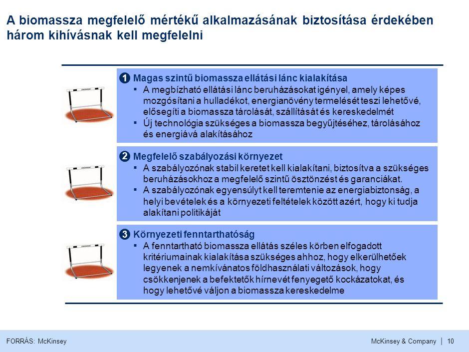 McKinsey & Company | 10 A biomassza megfelelő mértékű alkalmazásának biztosítása érdekében három kihívásnak kell megfelelni 2 Megfelelő szabályozási k
