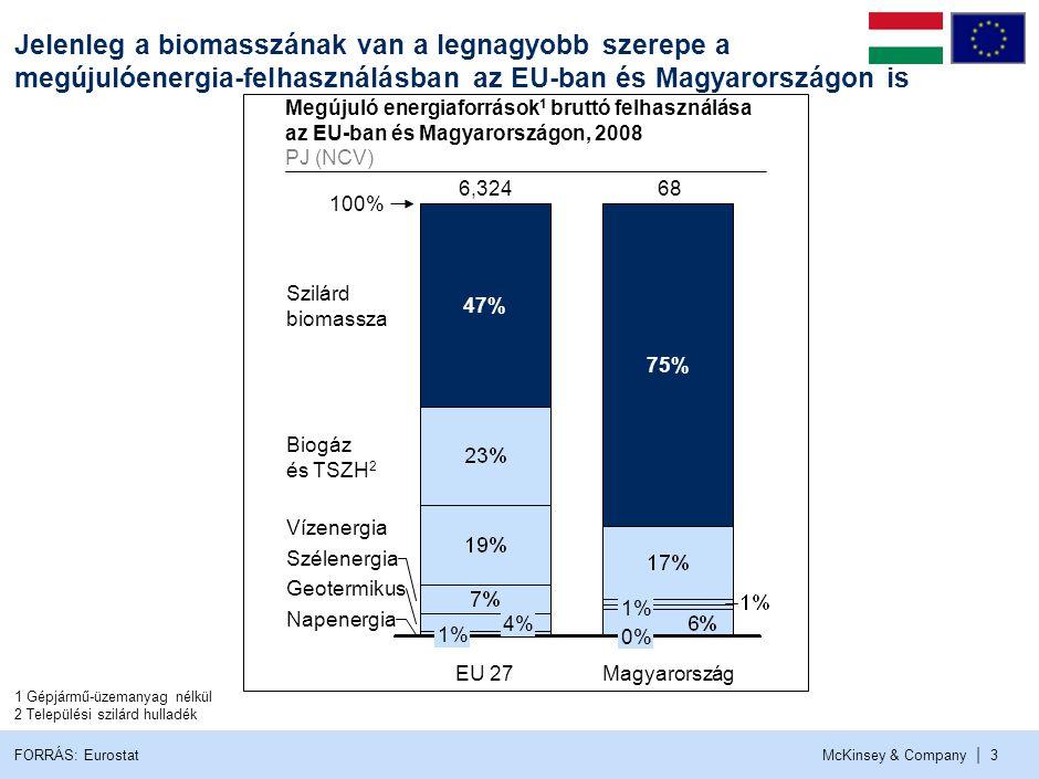 McKinsey & Company | 3 Jelenleg a biomasszának van a legnagyobb szerepe a megújulóenergia-felhasználásban az EU-ban és Magyarországon is 47% 100% Nape