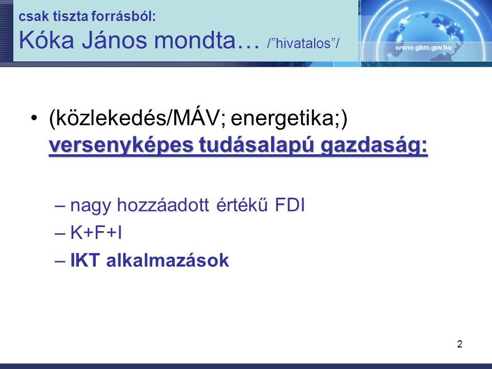 2 csak tiszta forrásból: Kóka János mondta… / hivatalos / versenyképes tudásalapú gazdaság:(közlekedés/MÁV; energetika;) versenyképes tudásalapú gazdaság: –nagy hozzáadott értékű FDI –K+F+I –IKT alkalmazások