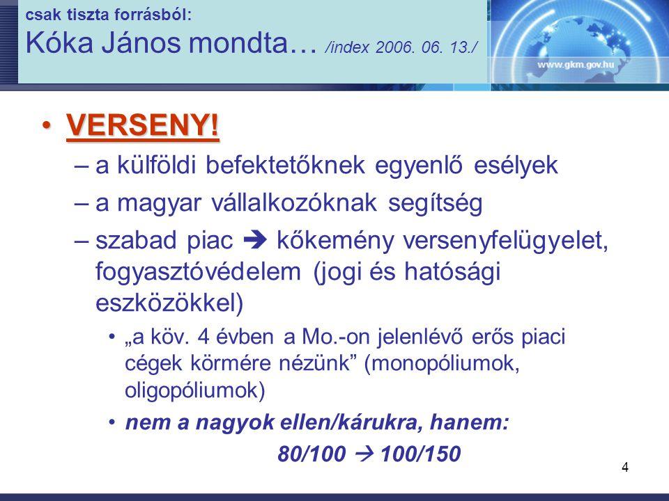 5 csak tiszta forrásból: Kóka János mondta… /index 2006.