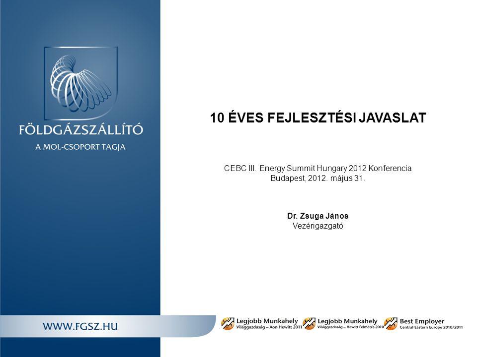 10 ÉVES FEJLESZTÉSI JAVASLAT CEBC III. Energy Summit Hungary 2012 Konferencia Budapest, 2012.