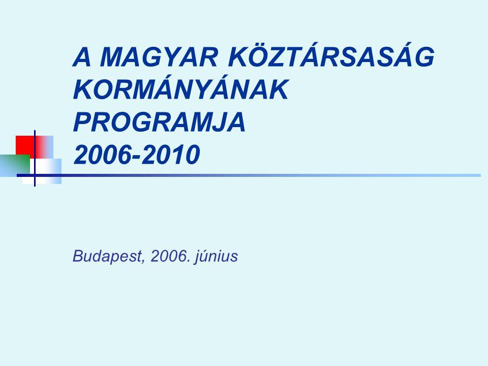 A MAGYAR KÖZTÁRSASÁG KORMÁNYÁNAK PROGRAMJA 2006-2010 Budapest, 2006. június