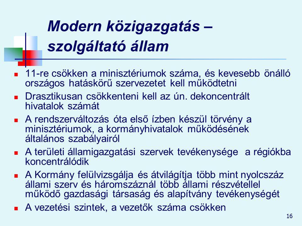 16 Modern közigazgatás – szolgáltató állam 11-re csökken a minisztériumok száma, és kevesebb önálló országos hatáskörű szervezetet kell működtetni Dra