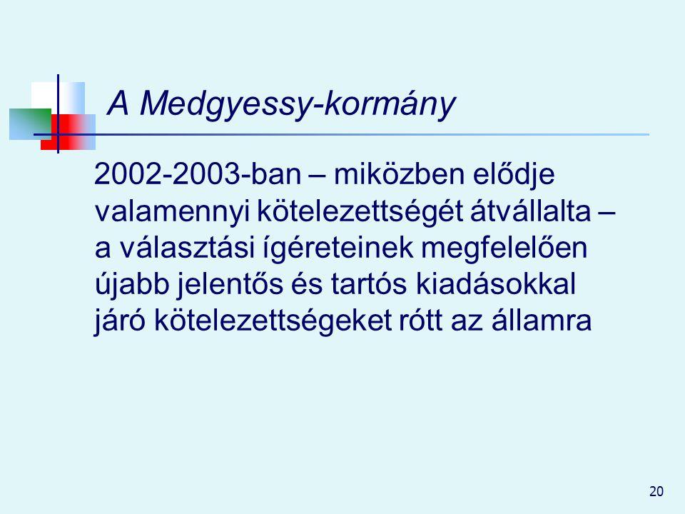 20 A Medgyessy-kormány 2002-2003-ban – miközben elődje valamennyi kötelezettségét átvállalta – a választási ígéreteinek megfelelően újabb jelentős és