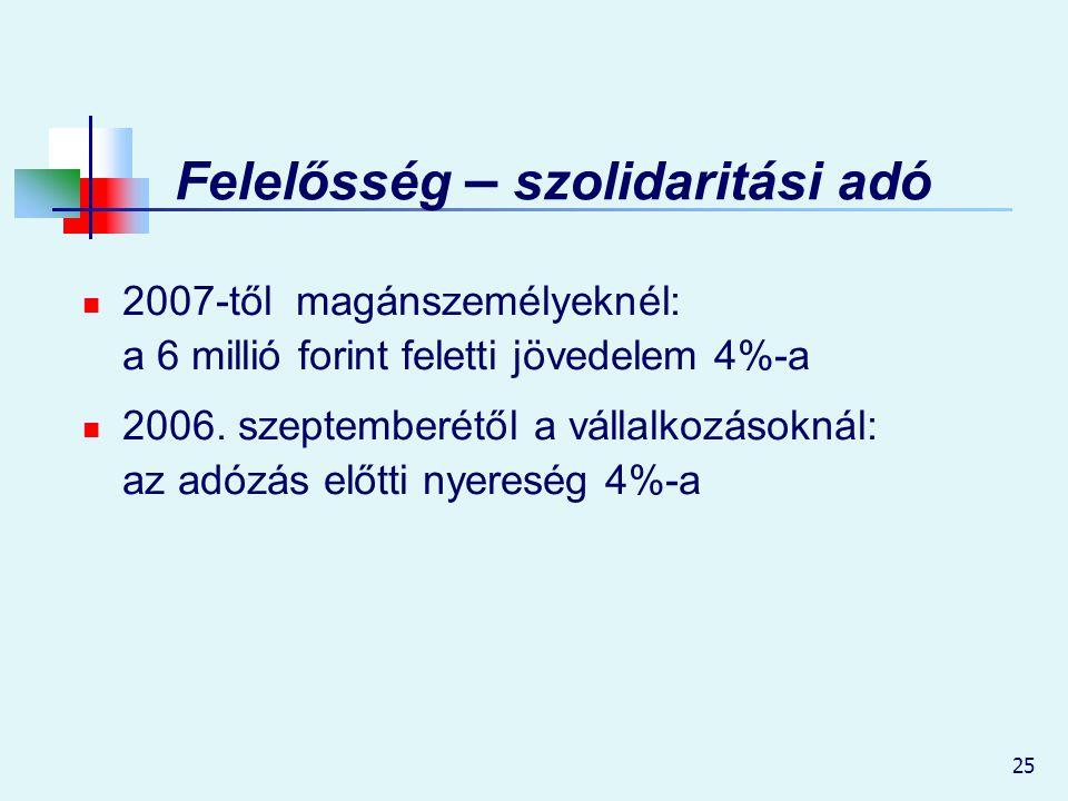 25 Felelősség – szolidaritási adó 2007-től magánszemélyeknél: a 6 millió forint feletti jövedelem 4%-a 2006. szeptemberétől a vállalkozásoknál: az adó