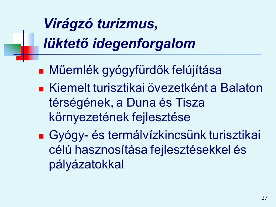 37 Virágzó turizmus, lüktető idegenforgalom Műemlék gyógyfürdők felújítása Kiemelt turisztikai övezetként a Balaton térségének, a Duna és Tisza környe