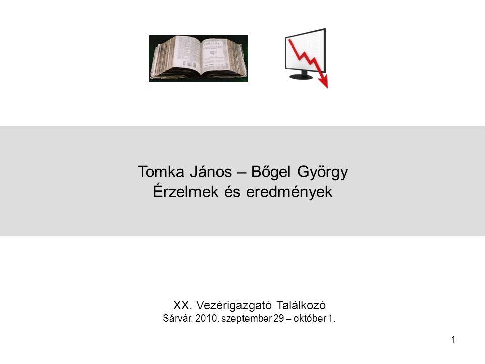 1 Tomka János – Bőgel György Érzelmek és eredmények XX.
