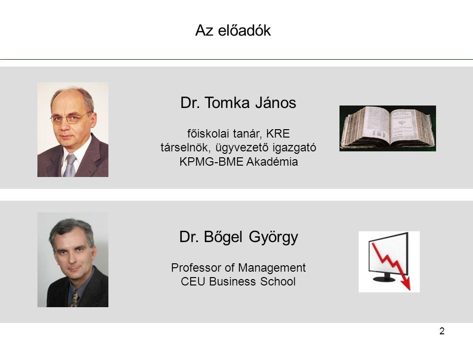 2 Dr. Tomka János főiskolai tanár, KRE társelnök, ügyvezető igazgató KPMG-BME Akadémia Dr.
