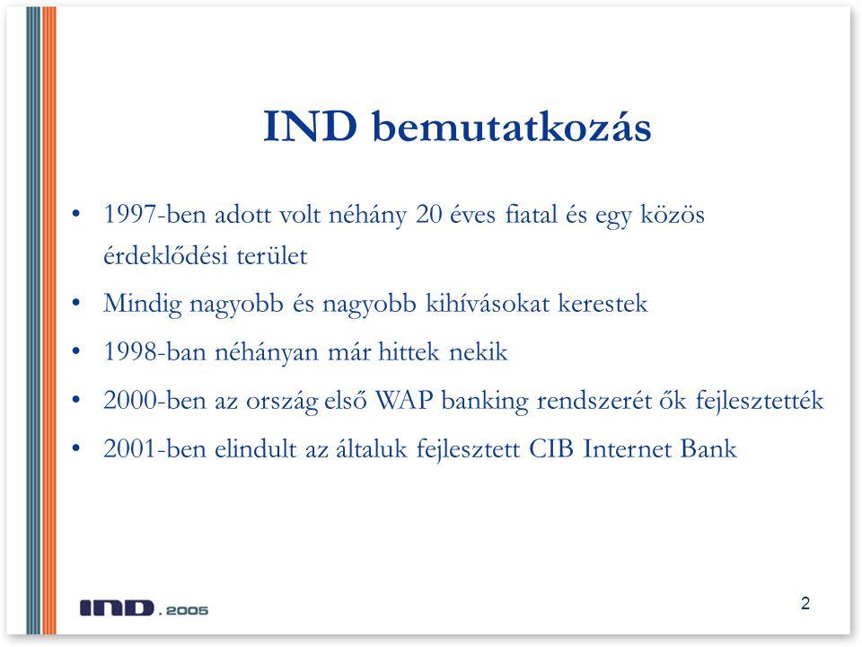 2 IND STS 2004 IND bemutatkozás 1997-ben adott volt néhány 20 éves fiatal és egy közös érdeklődési terület Mindig nagyobb és nagyobb kihívásokat kerestek 1998-ban néhányan már hittek nekik 2000-ben az ország első WAP banking rendszerét ők fejlesztették 2001-ben elindult az általuk fejlesztett CIB Internet Bank