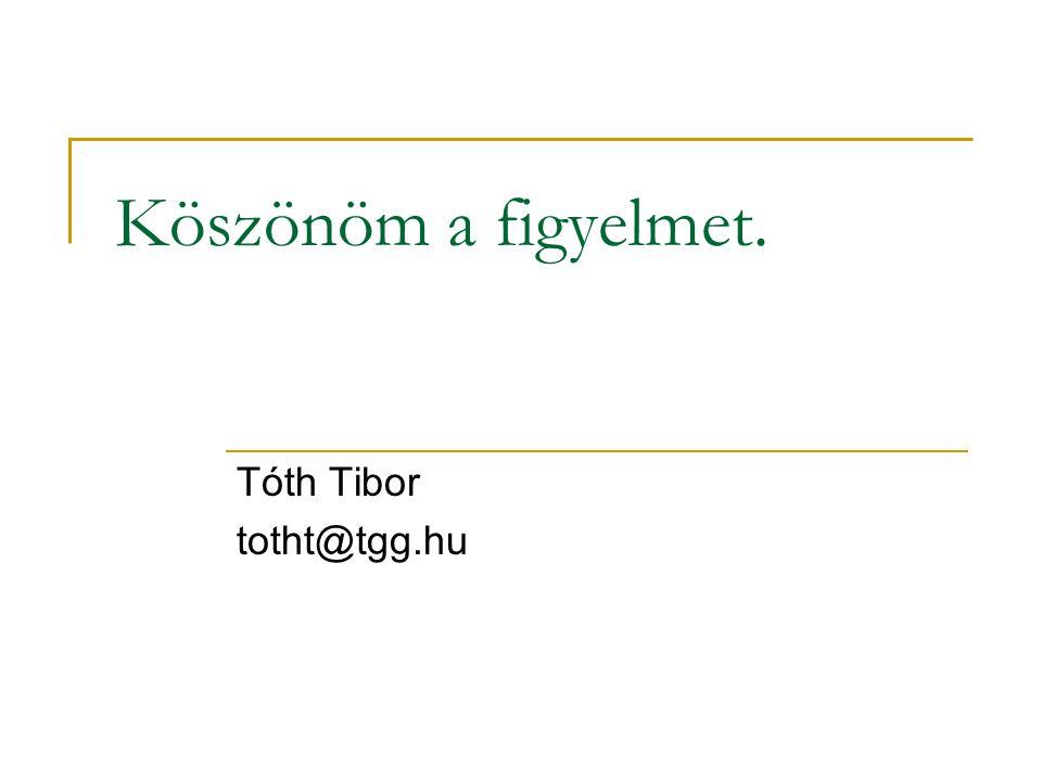 Köszönöm a figyelmet. Tóth Tibor totht@tgg.hu