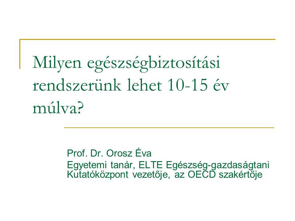 Milyen egészségbiztosítási rendszerünk lehet 10-15 év múlva? Prof. Dr. Orosz Éva Egyetemi tanár, ELTE Egészség-gazdaságtani Kutatóközpont vezetője, az