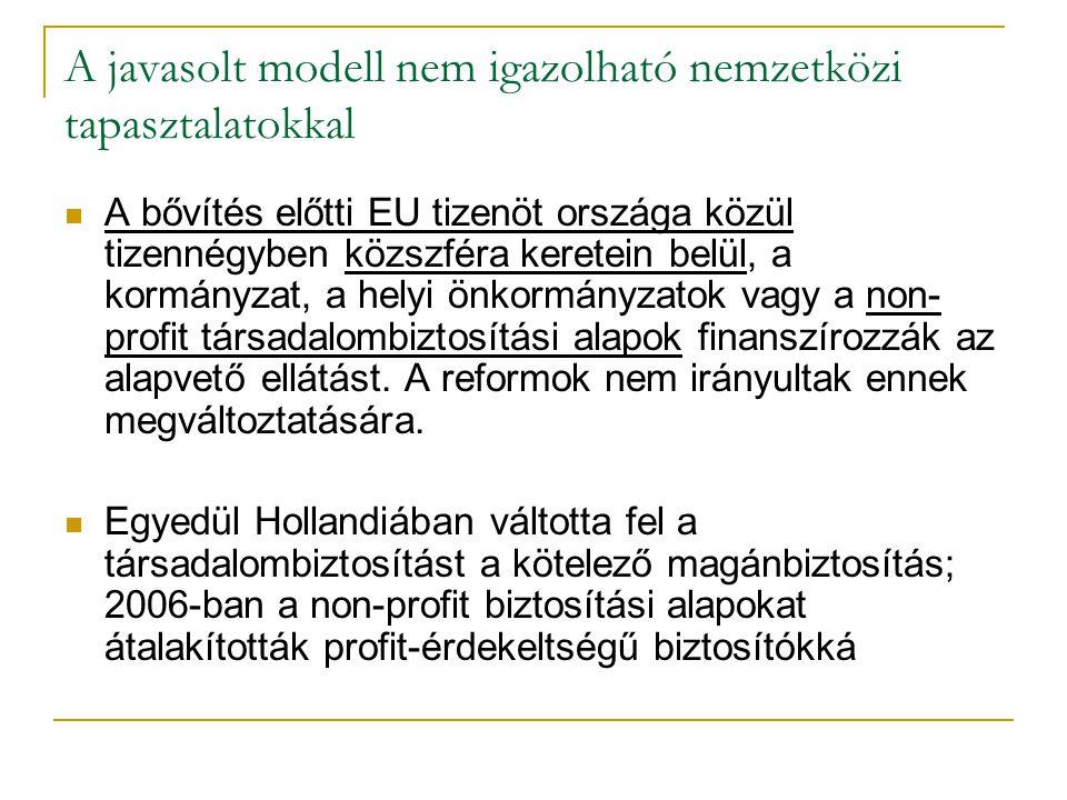 A javasolt modell nem igazolható nemzetközi tapasztalatokkal A bővítés előtti EU tizenöt országa közül tizennégyben közszféra keretein belül, a kormán