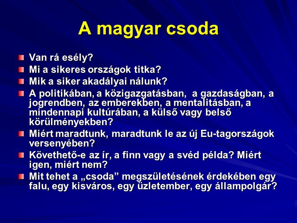 A magyar csoda Van rá esély. Mi a sikeres országok titka.