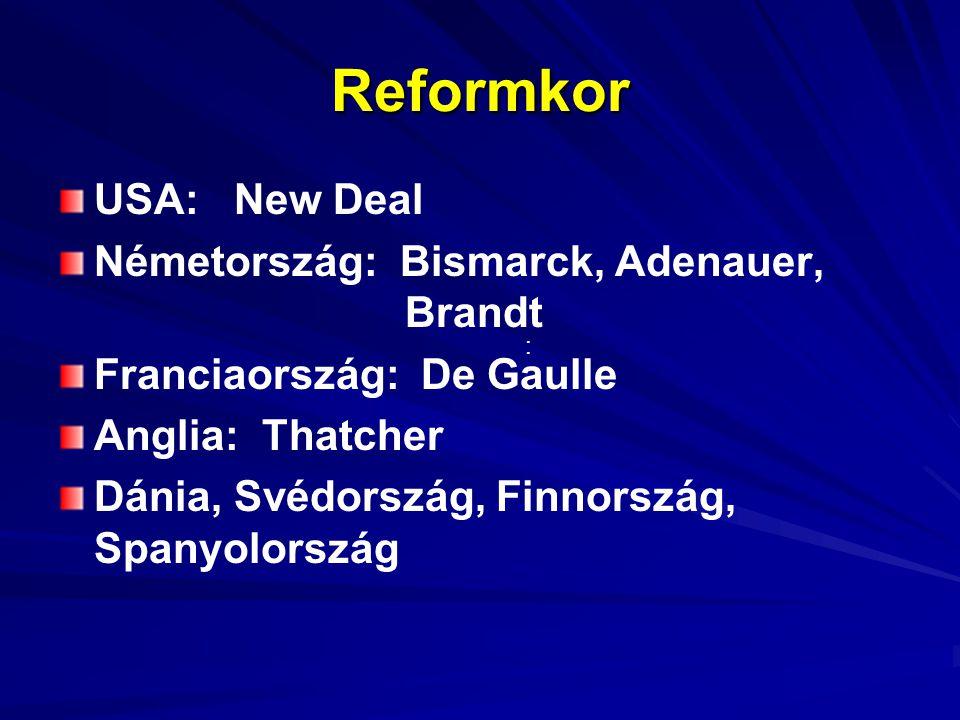 Reformkor USA: New Deal Németország: Bismarck, Adenauer, Brandt Franciaország: De Gaulle Anglia: Thatcher Dánia, Svédország, Finnország, Spanyolország :