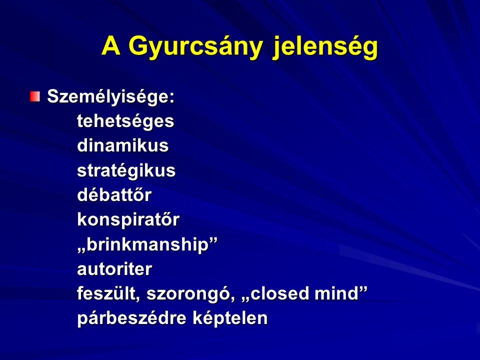 """A Gyurcsány jelenség Személyisége:tehetségesdinamikusstratégikusdébattőrkonspiratőr""""brinkmanship autoriter feszült, szorongó, """"closed mind párbeszédre képtelen"""