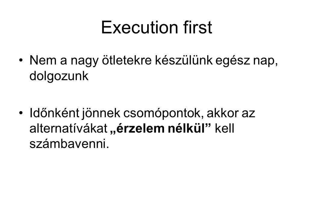 """Execution first Nem a nagy ötletekre készülünk egész nap, dolgozunk Időnként jönnek csomópontok, akkor az alternatívákat """"érzelem nélkül kell számbavenni."""