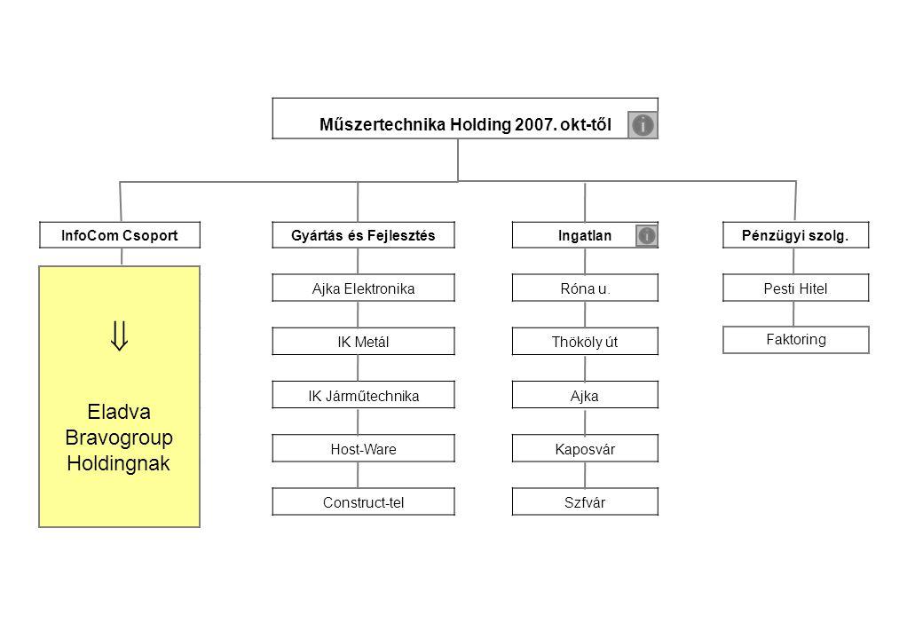 Műszertechnika Holding 2007. okt-től InfoCom CsoportGyártás és FejlesztésIngatlanPénzügyi szolg.