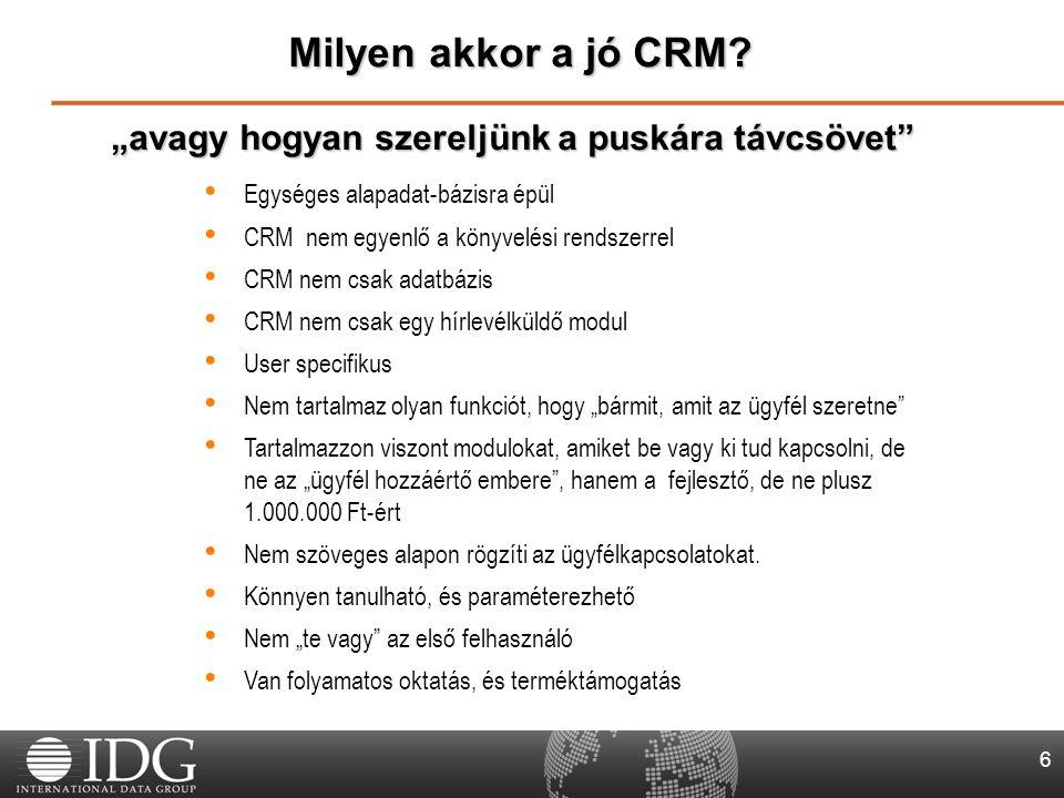 """6 Egységes alapadat-bázisra épül CRM nem egyenlő a könyvelési rendszerrel CRM nem csak adatbázis CRM nem csak egy hírlevélküldő modul User specifikus Nem tartalmaz olyan funkciót, hogy """"bármit, amit az ügyfél szeretne Tartalmazzon viszont modulokat, amiket be vagy ki tud kapcsolni, de ne az """"ügyfél hozzáértő embere , hanem a fejlesztő, de ne plusz 1.000.000 Ft-ért Nem szöveges alapon rögzíti az ügyfélkapcsolatokat."""