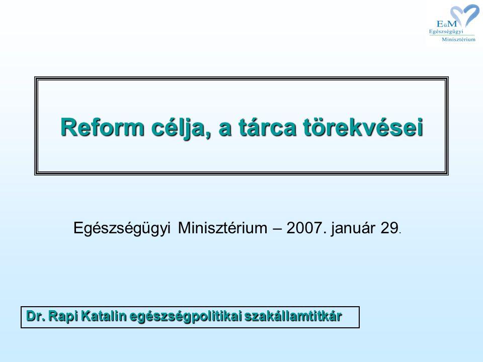 Reform célja, a tárca törekvései Dr. Rapi Katalin egészségpolitikai szakállamtitkár Egészségügyi Minisztérium – 2007. január 29.