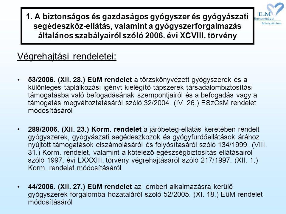 1. A biztonságos és gazdaságos gyógyszer és gyógyászati segédeszköz-ellátás, valamint a gyógyszerforgalmazás általános szabályairól szóló 2006. évi XC