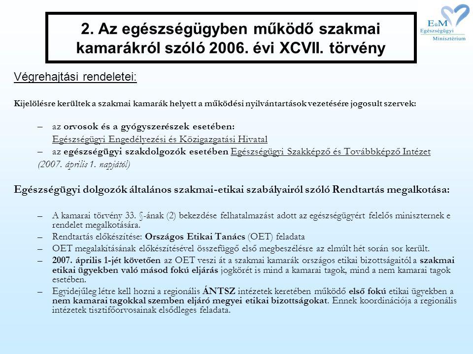 2. Az egészségügyben működő szakmai kamarákról szóló 2006. évi XCVII. törvény Végrehajtási rendeletei: Kijelölésre kerültek a szakmai kamarák helyett