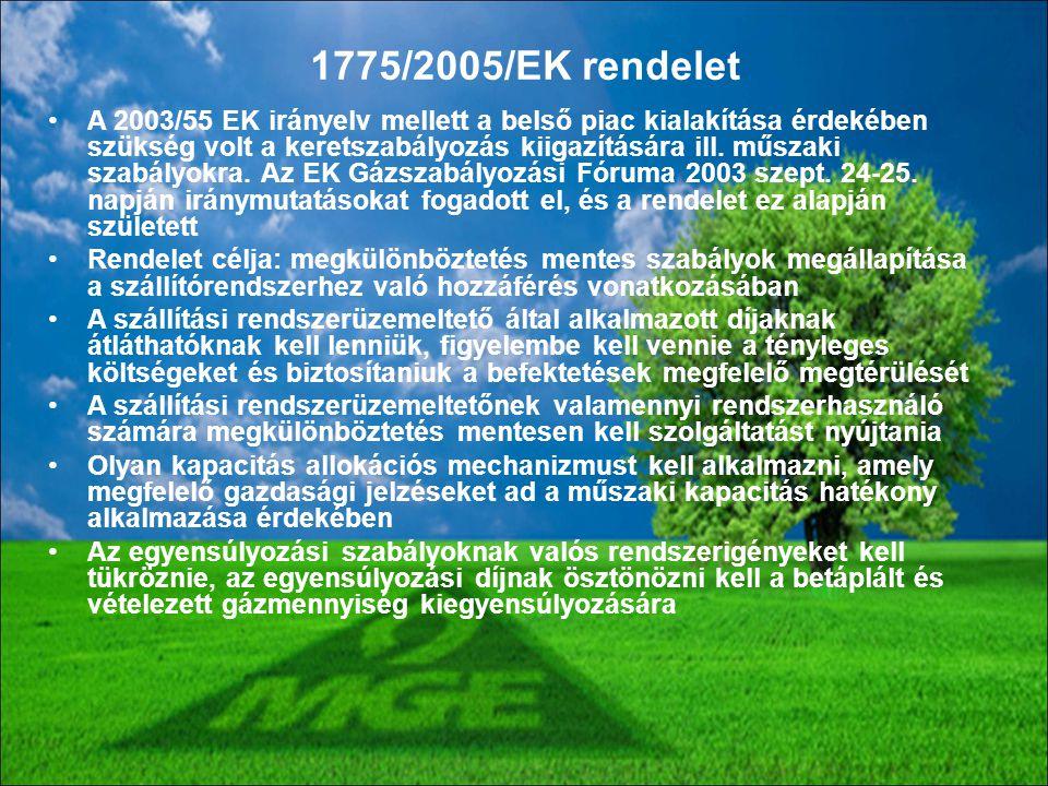 A 2003/55 EK irányelv mellett a belső piac kialakítása érdekében szükség volt a keretszabályozás kiigazítására ill. műszaki szabályokra. Az EK Gázszab