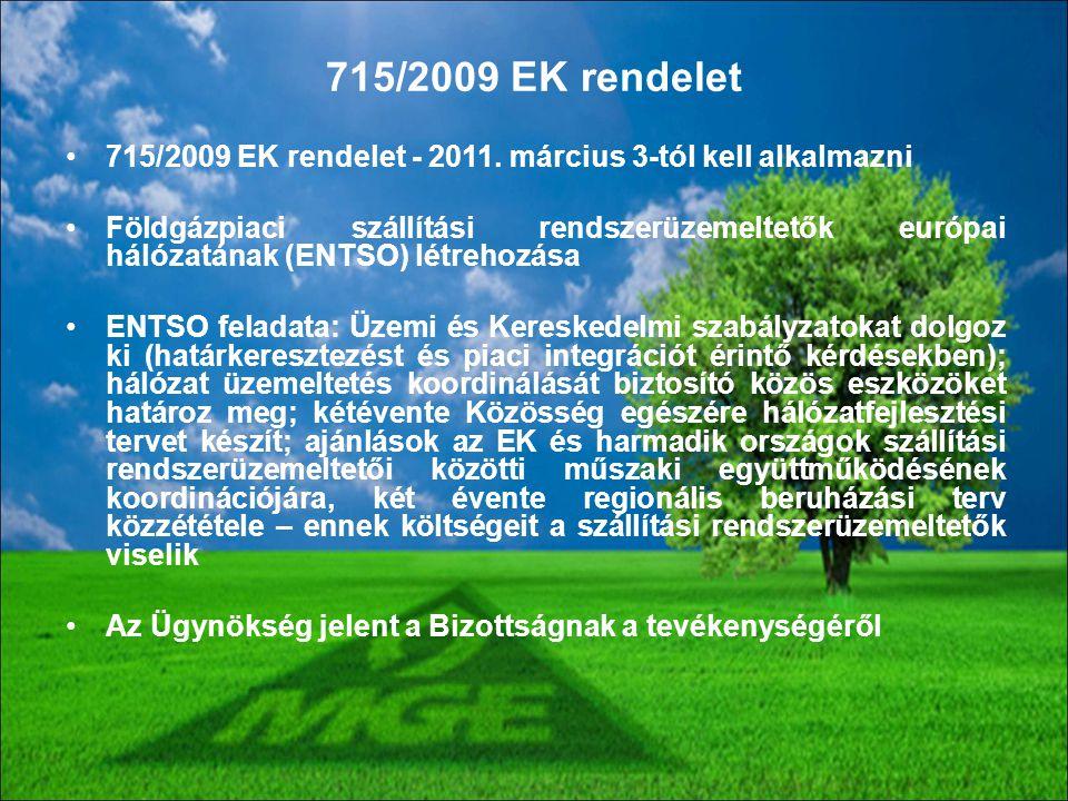 715/2009 EK rendelet - 2011. március 3-tól kell alkalmazni Földgázpiaci szállítási rendszerüzemeltetők európai hálózatának (ENTSO) létrehozása ENTSO f