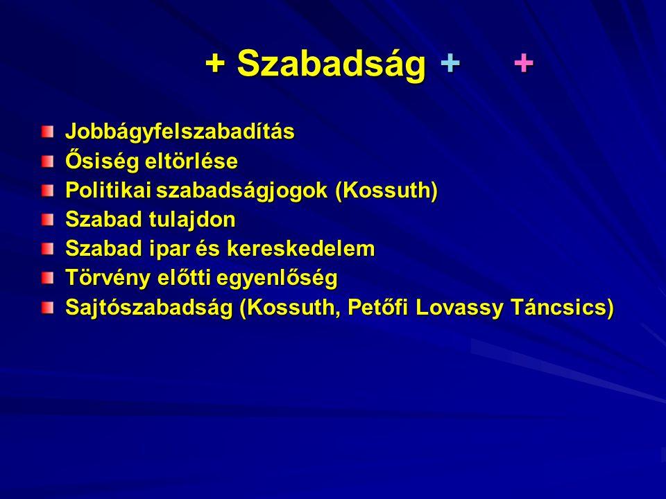 + Szabadság + + + Szabadság + + Jobbágyfelszabadítás Ősiség eltörlése Politikai szabadságjogok (Kossuth) Szabad tulajdon Szabad ipar és kereskedelem Törvény előtti egyenlőség Sajtószabadság (Kossuth, Petőfi Lovassy Táncsics)