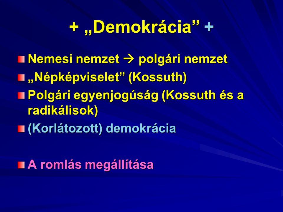 """+ """"Demokrácia + Nemesi nemzet  polgári nemzet """"Népképviselet (Kossuth) Polgári egyenjogúság (Kossuth és a radikálisok) (Korlátozott) demokrácia A romlás megállítása"""