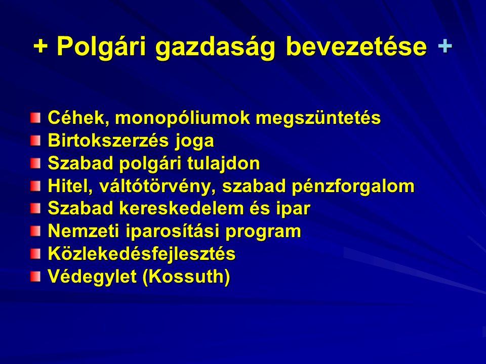 + Polgári gazdaság bevezetése + Céhek, monopóliumok megszüntetés Birtokszerzés joga Szabad polgári tulajdon Hitel, váltótörvény, szabad pénzforgalom Szabad kereskedelem és ipar Nemzeti iparosítási program Közlekedésfejlesztés Védegylet (Kossuth)