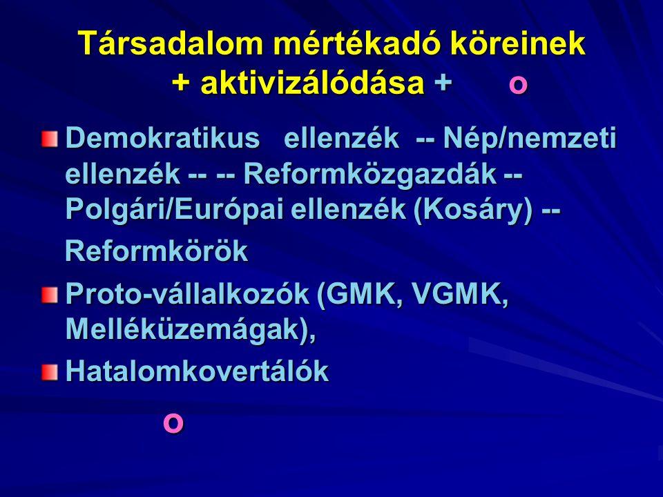 Demokratikus ellenzék -- Nép/nemzeti ellenzék -- -- Reformközgazdák -- Polgári/Európai ellenzék (Kosáry) -- Reformkörök Reformkörök Proto-vállalkozók (GMK, VGMK, Melléküzemágak), Hatalomkovertálók o o