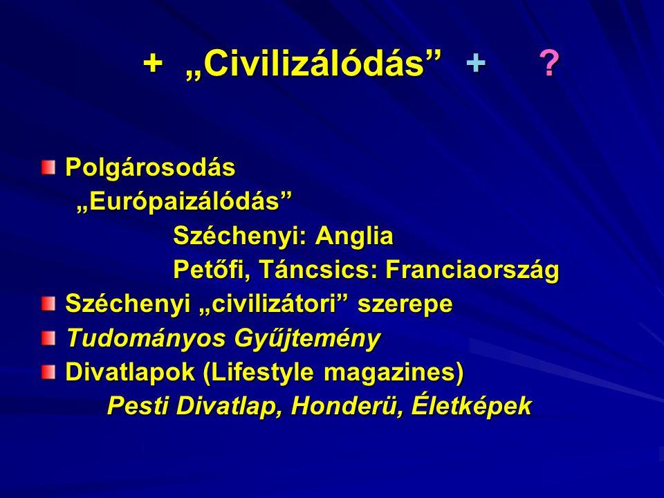 """+ """"Civilizálódás + . + """"Civilizálódás + ."""