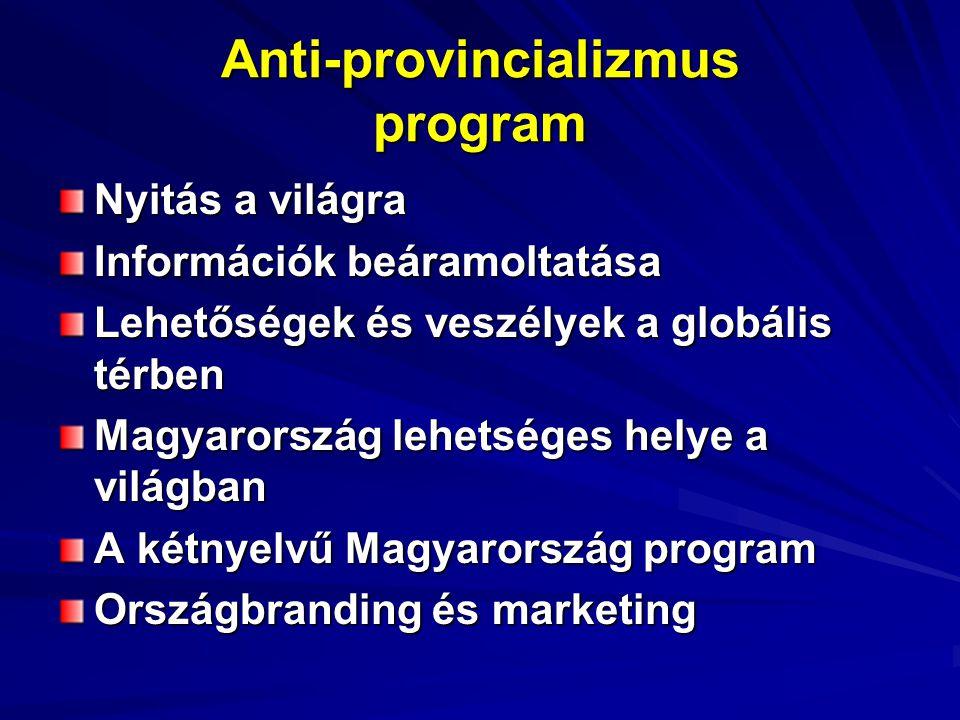 Anti-provincializmus program Nyitás a világra Információk beáramoltatása Lehetőségek és veszélyek a globális térben Magyarország lehetséges helye a világban A kétnyelvű Magyarország program Országbranding és marketing