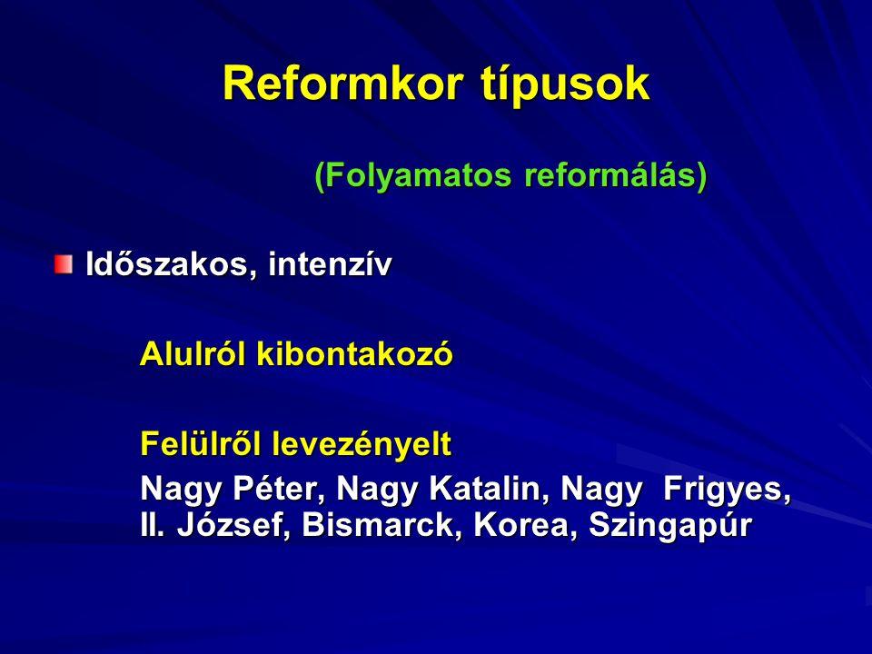 Reformkor típusok (Folyamatos reformálás) Időszakos, intenzív Alulról kibontakozó Felülről levezényelt Nagy Péter, Nagy Katalin, Nagy Frigyes, II.