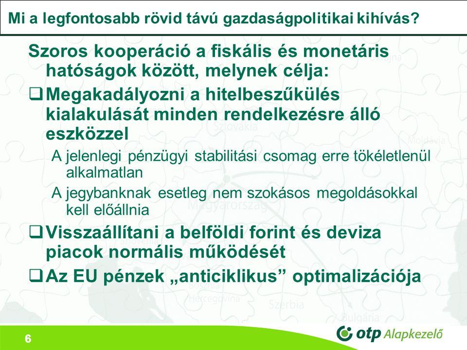 6 Mi a legfontosabb rövid távú gazdaságpolitikai kihívás? Szoros kooperáció a fiskális és monetáris hatóságok között, melynek célja:  Megakadályozni