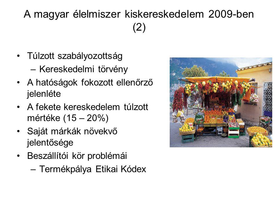A magyar élelmiszer kiskereskedelem 2009-ben (2) Túlzott szabályozottság –Kereskedelmi törvény A hatóságok fokozott ellenőrző jelenléte A fekete kereskedelem túlzott mértéke (15 – 20%) Saját márkák növekvő jelentősége Beszállítói kör problémái –Termékpálya Etikai Kódex