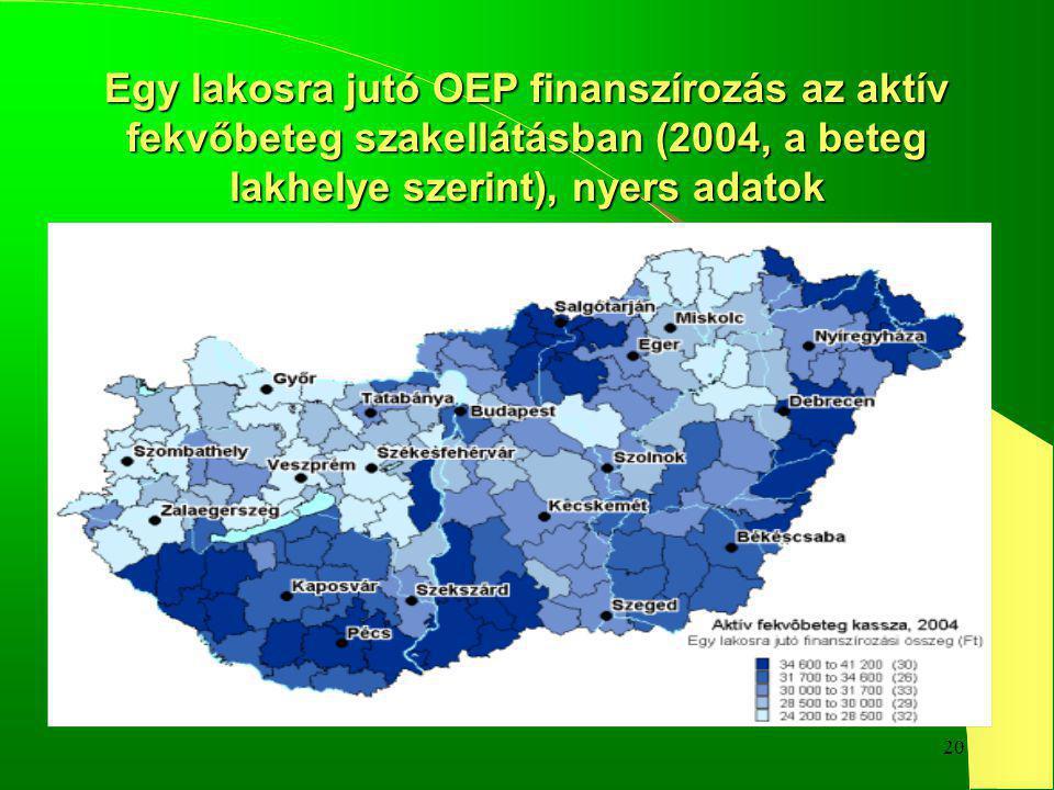20 Egy lakosra jutó OEP finanszírozás az aktív fekvőbeteg szakellátásban (2004, a beteg lakhelye szerint), nyers adatok