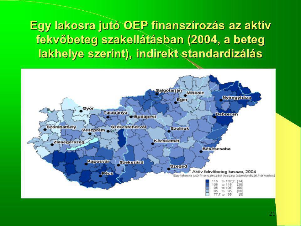 21 Egy lakosra jutó OEP finanszírozás az aktív fekvőbeteg szakellátásban (2004, a beteg lakhelye szerint), indirekt standardizálás