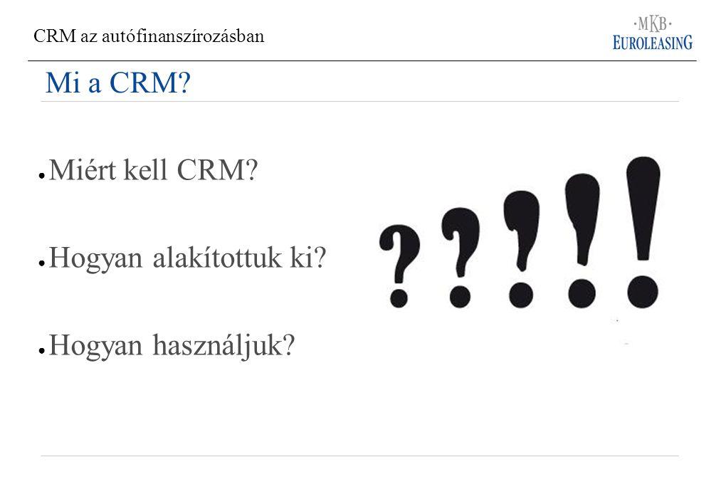 Mi a CRM ● Miért kell CRM ● Hogyan alakítottuk ki ● Hogyan használjuk
