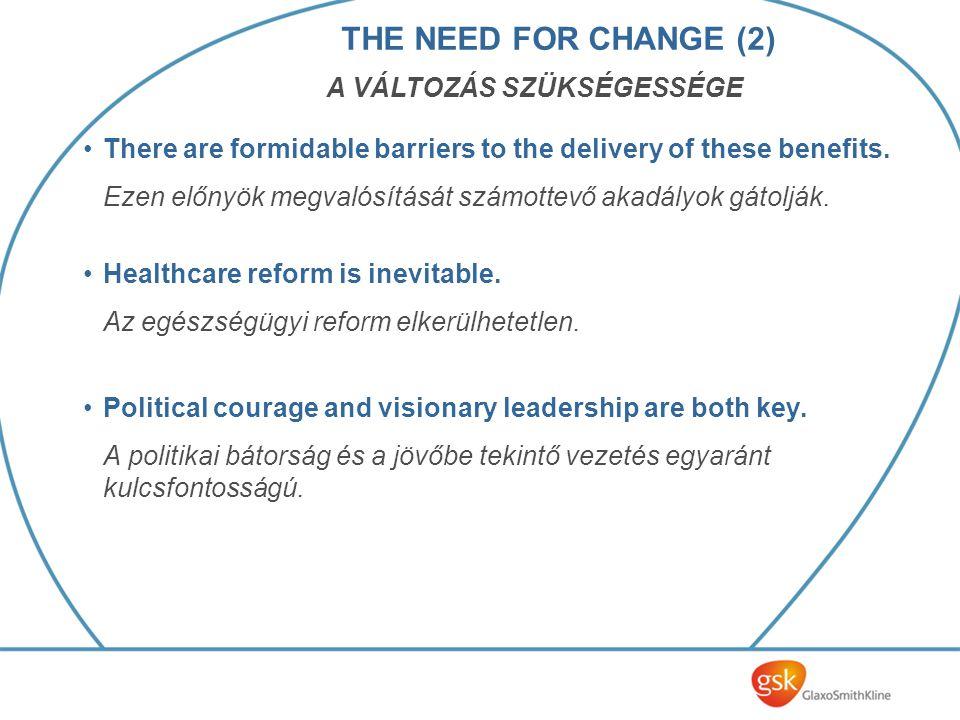 There are formidable barriers to the delivery of these benefits. Ezen előnyök megvalósítását számottevő akadályok gátolják. Healthcare reform is inevi