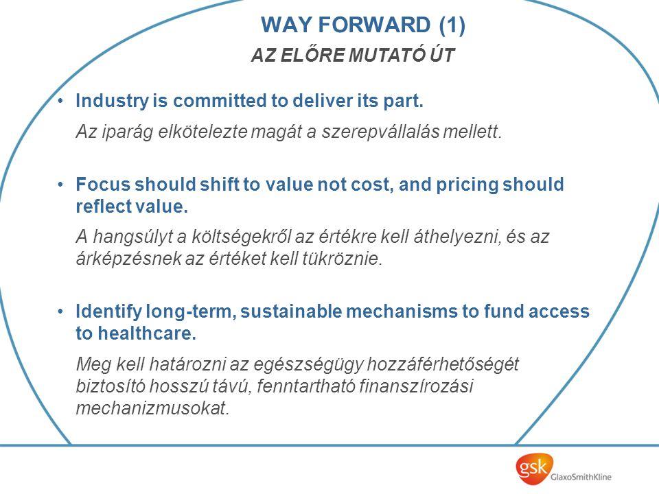 WAY FORWARD (1) Industry is committed to deliver its part. Az iparág elkötelezte magát a szerepvállalás mellett. Focus should shift to value not cost,
