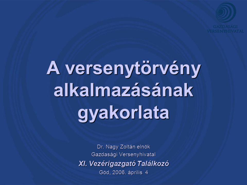 A versenytörvény alkalmazásának gyakorlata Dr. Nagy Zoltán elnök Gazdasági Versenyhivatal XI. Vezérigazgató Találkozó Göd, 2006. április 4