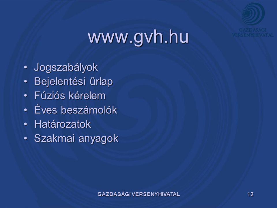 GAZDASÁGI VERSENYHIVATAL12 www.gvh.hu JogszabályokJogszabályok Bejelentési űrlapBejelentési űrlap Fúziós kérelemFúziós kérelem Éves beszámolókÉves bes