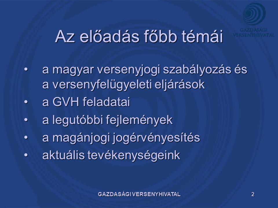 GAZDASÁGI VERSENYHIVATAL2 Az előadás főbb témái a magyar versenyjogi szabályozás és a versenyfelügyeleti eljárásoka magyar versenyjogi szabályozás és