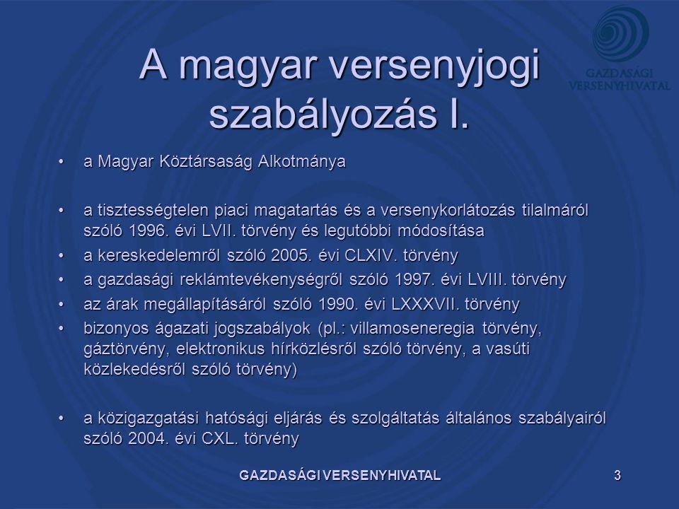 GAZDASÁGI VERSENYHIVATAL3 A magyar versenyjogi szabályozás I. a Magyar Köztársaság Alkotmányaa Magyar Köztársaság Alkotmánya a tisztességtelen piaci m