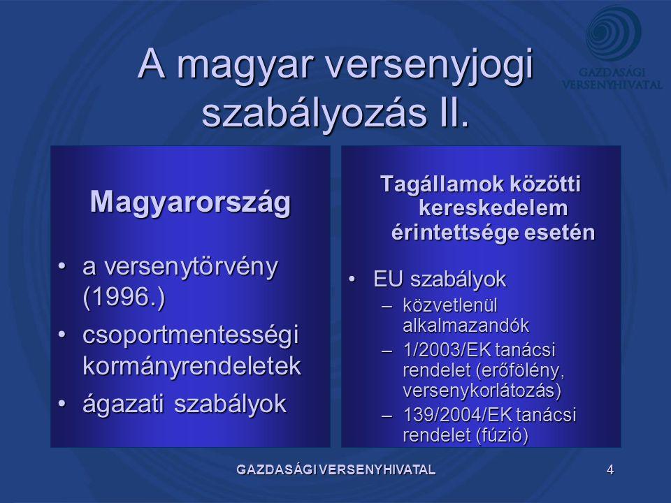 GAZDASÁGI VERSENYHIVATAL4 A magyar versenyjogi szabályozás II. Magyarország a versenytörvény (1996.)a versenytörvény (1996.) csoportmentességi kormány
